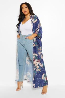 boohoo Plus Oriental Floral Maxi Kimono