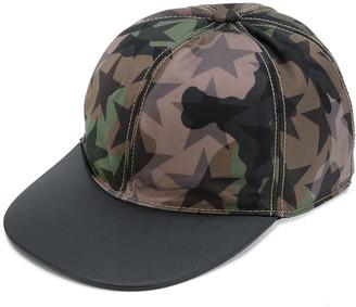 Valentino Camouflage Star Print Cap