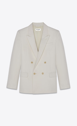 Saint Laurent Double-breasted Tailored Jacket In Grain De Poudre Chalk 34