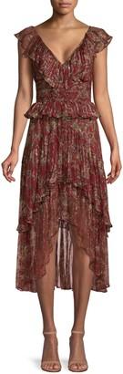 The Kooples Printed Ruffle Midi Dress