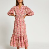 Thumbnail for your product : River Island Womens Pink floral puff sleeve shirt dress