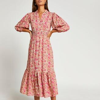 River Island Womens Pink floral puff sleeve shirt dress