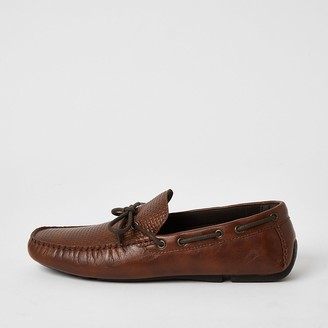 River Island Brown textured tie front boat shoes
