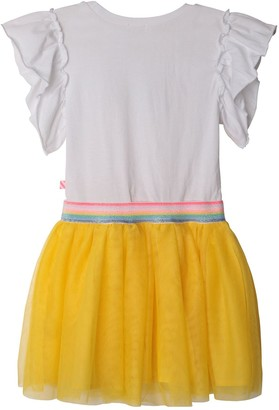 Billieblush Girls Short Sleeve Rainbow Tutu Dress - White
