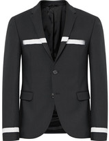 Neil Barrett Slim-fit Striped Stretch Virgin Wool Blazer - Black
