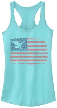 Juniors' Distressed Flag Eagle Silhouette Tank