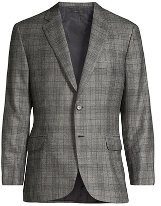 Brioni Glen Plaid Single-Breasted Wool, Cashmere & Silk Jacket