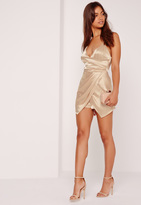 Missguided Silky Ruched Asymmetric Romper Nude