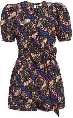 Ulla Johnson Belted Printed Cotton-poplin Playsuit