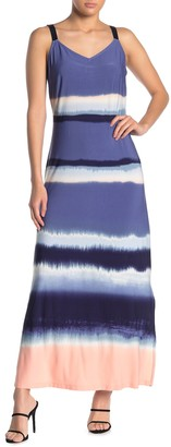 MSK V-Neck Stripe Print Side Slit Maxi Dress
