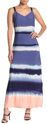 MSK Striped V-Neck Side Slit Maxi Dress