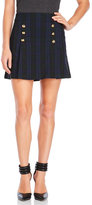 XOXO Plaid Button Front Mini Skirt