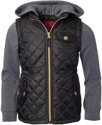 Pink Platinum Girls' Puffer Coats BLACK - Black Hooded Quilted Coat - Infant & Toddler