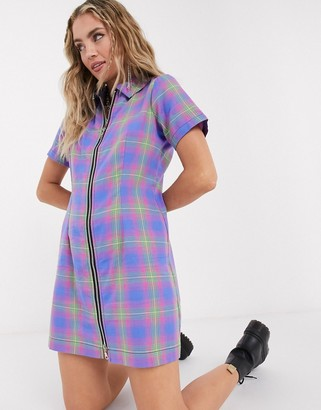 The Ragged Priest zip front mini dress in check