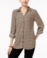 NY Collection Chevron-Print Utility Shirt
