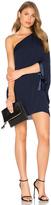 Halston Asymmetrical Sleeve Mini Dress