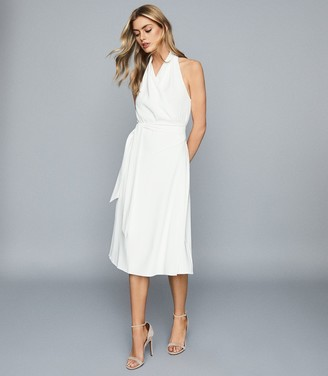 Reiss Piper - Halterneck Midi Dress in White