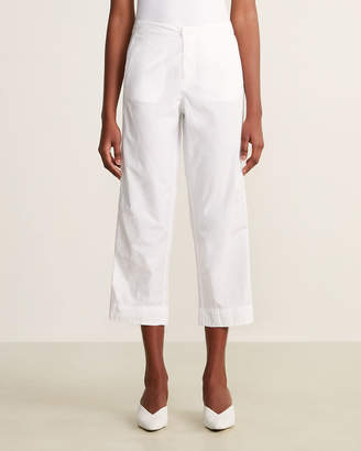 Solid Mid-Rise Cropped Trouser