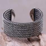 Wide Textured Sterling Silver Cuff Bracelet from Bali, 'Horseshoe Braids'