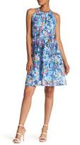 T Tahari Debrah Floral Loop Collar Dress