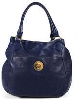 Isaac Mizrahi Blue Leather Satchel Handbag Size Medium