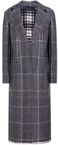 Calvin Klein Collection Janca Plaid Leather-trimmed Wool Coat