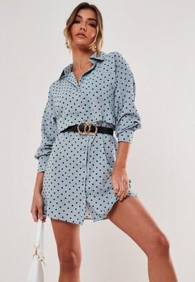 Missguided Blue Polka Dot Utility Shirt Dress