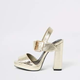 River Island Womens Gold embossed wide fit platform heels