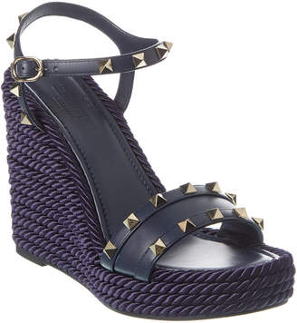 Valentino Rockstud 115 Ankle Strap Leather Wedge Sandal