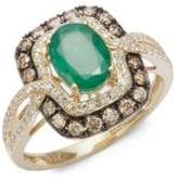 Effy Diamond, Espresso Diamond and Emerald, 14K Gold and 14K Yellow Gold Ring