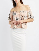 Charlotte Russe Floral Satin Off-The-Shoulder Top