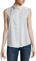 Liz Claiborne Sleeveless Button-Front Polka Dot Shirt