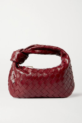 Bottega Veneta Jodie Mini Knotted Intrecciato Textured-leather Tote - Burgundy