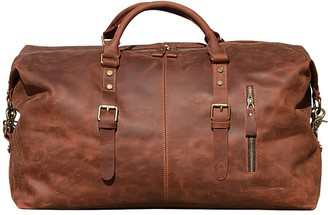 Touri Zip Detail Genuine Leather Holdall In Brown