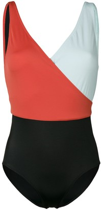 Solid & Striped Colour Block Swimsuit