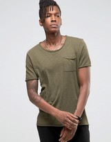 Selected Longline T-Shirt with Raw Edges