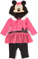 Children's Apparel Network Pink & Black Minnie Mouse Playsuit - Infant