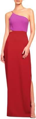 Aidan Mattox Aidan One-Shoulder Colourblock Gown