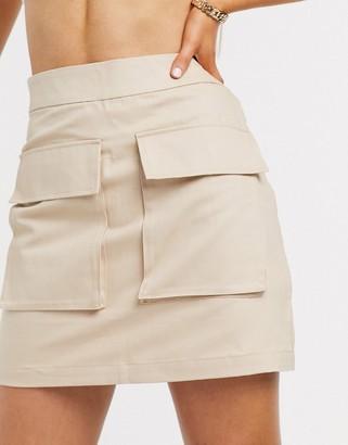 NA-KD cargo belted mini skirt in beige