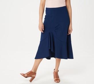 Du Jour Asymmetric Ponte Knit Skirt with Pintuck Detail