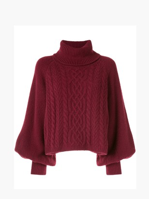 Adam Lippes Puff Sleeve Turtleneck Sweater