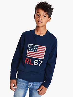 Ralph Lauren Polo Boys' Terry Flag Print Sweatshirt, Navy