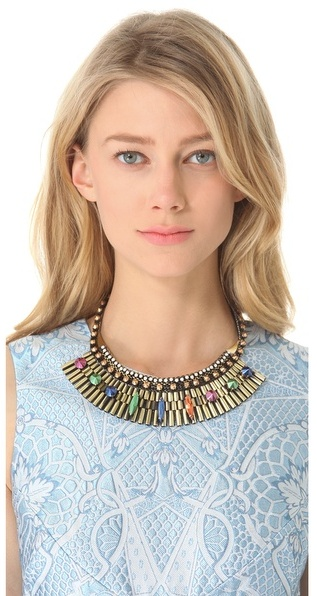 Iosselliani Fused Stone Watch Link Bib Necklace