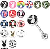 Playboy Bunny Logo Print Inlay 316L Surgical Steel Barbell (Sold by Piece)