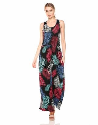 28 Palms Women's Tropical Hawaiian Print Sleeveless Maxi Dress Rainbow Fronds Medium