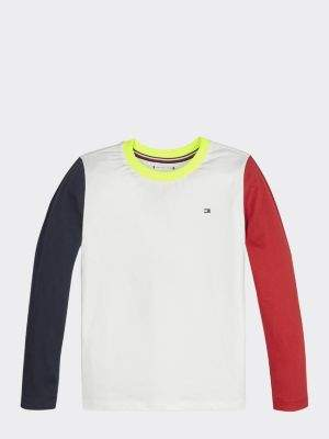Tommy Hilfiger Long Sleeve Colour-Blocked Cotton T-Shirt