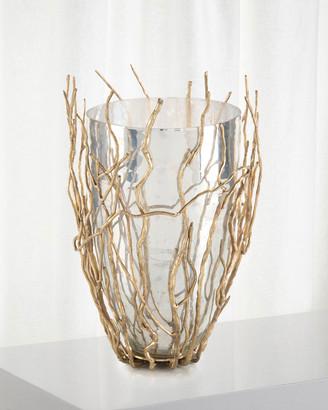 John-Richard Collection Sapling Encased Silvered Glass Vase