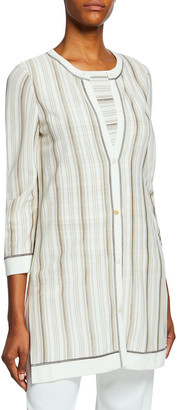 Misook Striped Button-Front 3/4-Sleeve Long Jacket with Trim