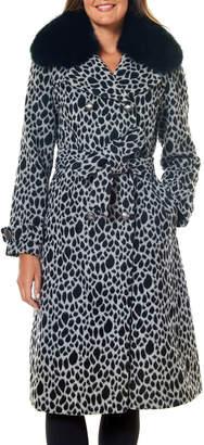 One Madison Fox Fur-Collar Animal-Print Trench