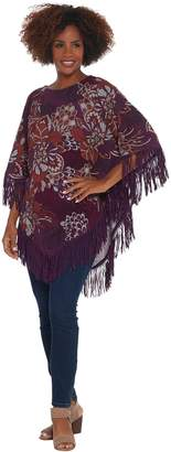 Susan Graver Printed Sweater Knit Poncho with Fringe